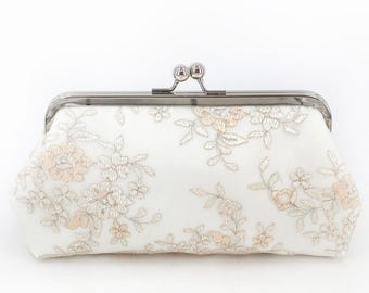 Blush pink champagne peonies Embroidery Tulle Lace Bridal Clutch in Ivory 8-inches