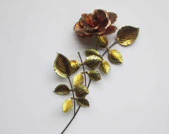 Copper & Brass Metal Rose Wall Art Sculpture