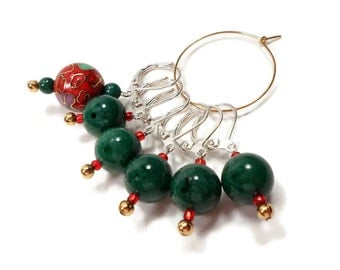 Removable Stitch Markers Row Markers Green Red Cloisonne Locking Knitting Supplies DIY Crafts Gift for Knitting Crochet
