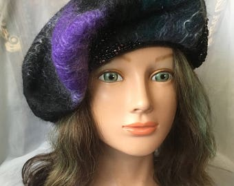 Women ladies beret, felted hat, warm hat  black green purple beret  mohair merino wool , designer hat