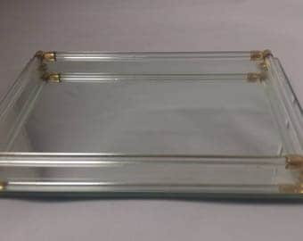 Mirror Dresser Vanity Tray, Beveled with glass Side Bars Mid Century