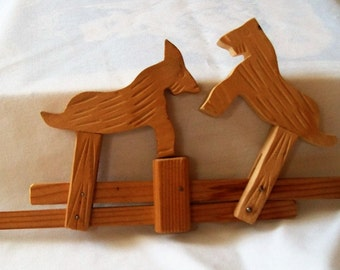 Vintage Wooden Animals, Handcrafted Wood Toy Animals, Fighting Goats, Goats