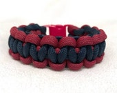 Aromatherapy Paracord Bracelet -Choose Your Own Size - Navy with Crimson