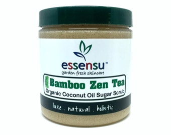 Bamboo Zen Tea Organic Coconut Oil One-Step Moisturizing Sugar Body Scrub   Exfoliating Cleanses   Bamboo Extract   Celebrity Gifting - 9 oz
