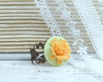 Orange Rose Ring Orange And Green Cameo Ring Orange Flower Ring Rose Cameo Jewelry Adjustable Ring