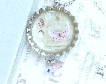 Egg Necklace Victorian Necklace Bird Cage Necklace Butterfly Necklace Bottle Cap Necklace Shabby Chic