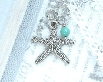 Starfish Charm Necklace Beach Necklace Sea Charm Necklace Beach Wedding Starfish Jewelry