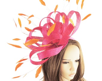 Persian Fuchsia Pink Orange Fascinator Hat for Weddings, Races, and Special Events With Headband