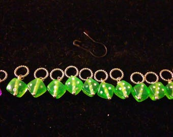 Green Lucky Dice Stitch Markers