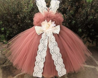 MARSALA IVORY LACE - Brown Tutu Dress - Flower Girl Gown - Pageant Baby Outfit - Photo Shoots - Birthday Tutu Dress - Girls' Brown Tutu