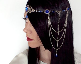 Medieval Circlet Headpiece in Silver and Sapphire