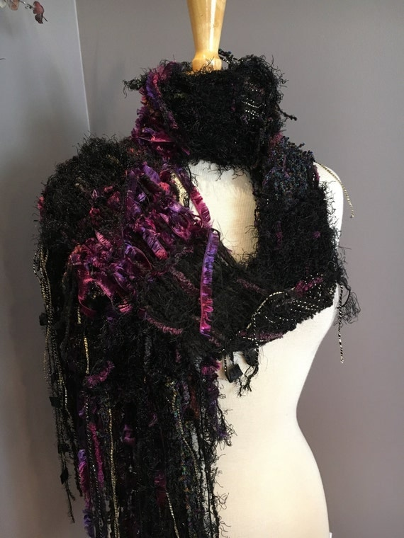 Hand Knit Fringed artsy hand knit scarf, Grape Wrath, Shaggy Chic -Knit Mixed Fiber Scarf, green black purple scarf, funky scarves, gifts
