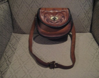 Vintage Small Size Leather Embossed Handbag Purse Child Size Hand Tooled
