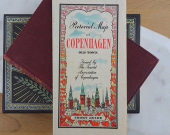 Vintage Pictorial Map of Copenhagen, Denmark, Tourist Guide, Full colour illustrated Map
