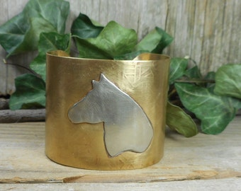 Horse cuff, equestrian jewelry, horse jewelry, mixed metal jewelry designs, gold cuff, wearable art,brass and silver cuff, nickel free cuff