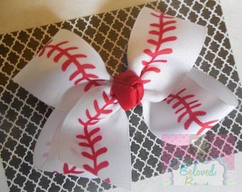 Baseball Basic Hair Bow--Baseball Stitches Boutique Hair Bow--Beaseball Seams Hair Bow