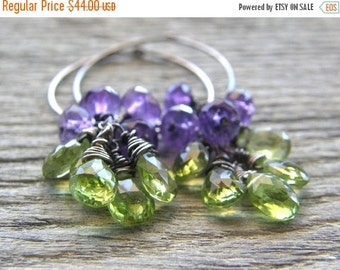 20% OFF RESERVED FOR Shay - Green Peridot and Purple Amethyst Sterling Silver Hoop Earrings