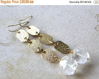 20% OFF Crystal Quartz Dangle Earrings, Gold Chain and Quartz Drop Earrings, Modern Quartz Earrings