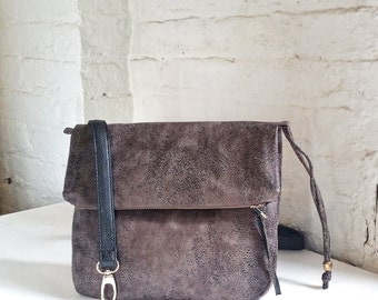 Vegan Crossbody Bag in Distressed Stone Faux Suede, Vegan Suede Bag, Foldover Crossbody Bag