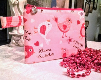 Valentine Love Birds Zippered Coin Pouch / Cell Phone / Wallet / Make-Up Pouch / Organizer / Sanitary Pad Storage