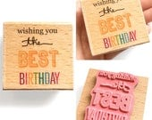Wishing you the Best BIRTHDAY - Rubber Stamp - Birthday Card, Etsy Shop, Logo, Branding, Packaging, Invitations, Party, Favors, Wedding Gift