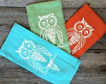 Hand Printed Flour Sack Towel - Big Tea Towel - Owl Design - 100% cotton linens - Set of 3