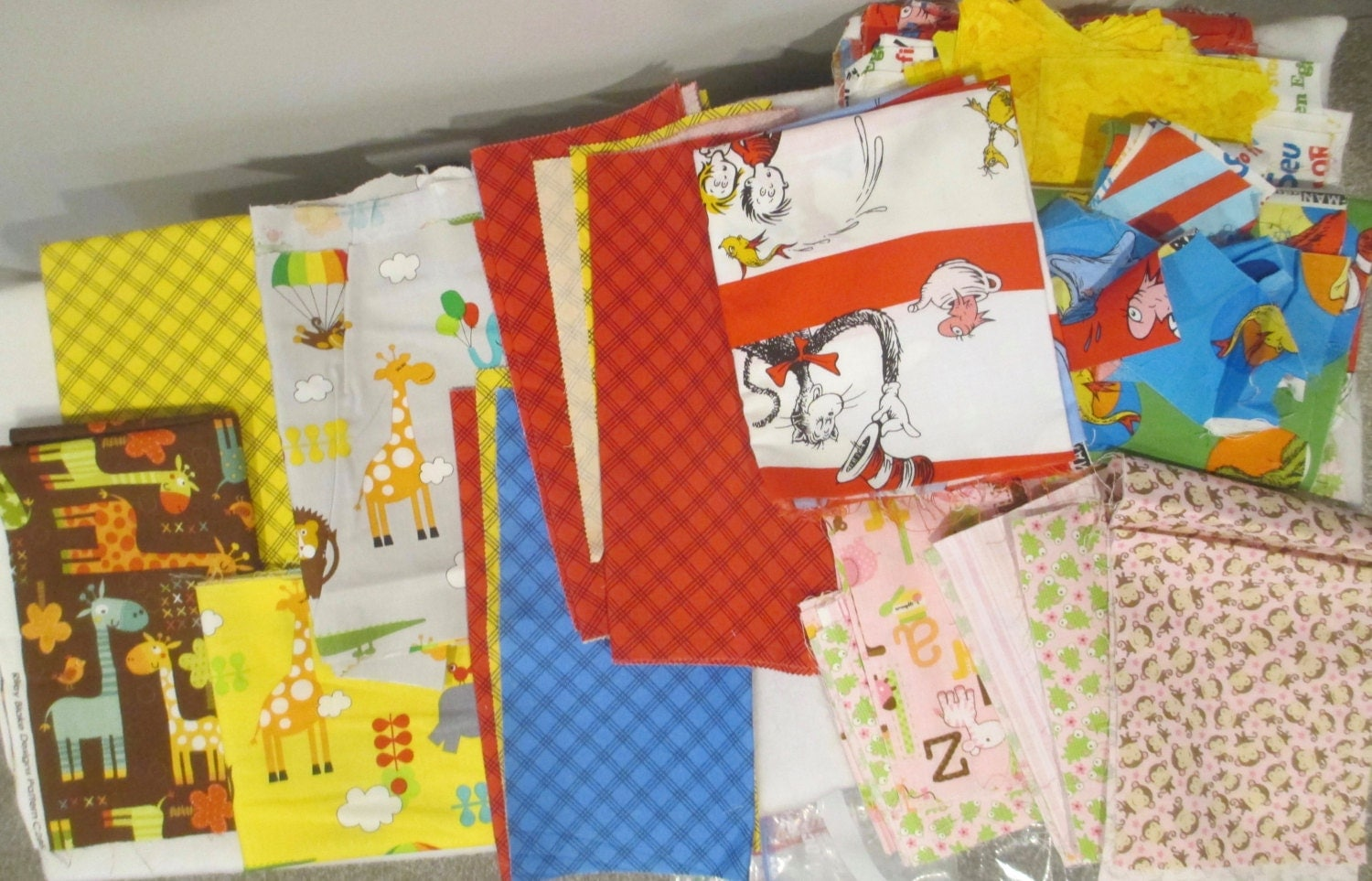 Destash kids fabric bundle dr suess elephants giraffes for Childrens fabric bundles