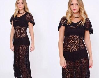 FALL SALE Vintage 80s Black LACE Dress Lace Maxi Dress Boho Sheer Gypsy Dress