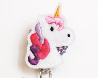 Feltie Unicorn ID Badge Reel - Retractable ID Badge Holder - Zipperedheart