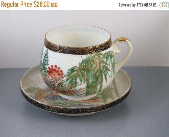 SPRING CLEANING SALE Vintage hand painted Kutani Japan lithophane demitasse cup and saucer / porcelain / china / bone china / tea / coffee /