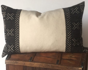 Authentic Woven Tribal Mudcloth and Cream Wool Pillow Cover  16x26   Ready to Ship  Farmhouse / Modern / Masculine / Lodge