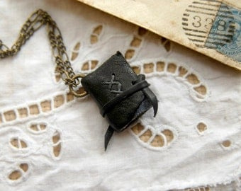 Secret Keeper - Miniature Wearable Book, Black Reclaimed Leather, Aged Paper, Indigo Fabric - OOAK