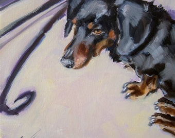 """Black and Tan, Rust, Red, Dachshund, by a Cafe' Table in the Sun, Pale Yellow, Peach Background, 12"""" x 12"""" Original Painting"""