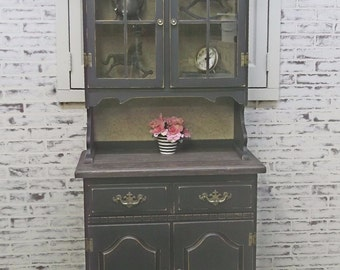 China Hutch, Distressed Black Cottage Style -CB201- Shabby Vintage Farmhouse Chic, French Country