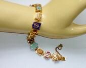 Vintage Enamel Bracelet - Heraldic Enamel Shields European Coat of Arms, Royal Fleur De Lis, Crowns, Lions