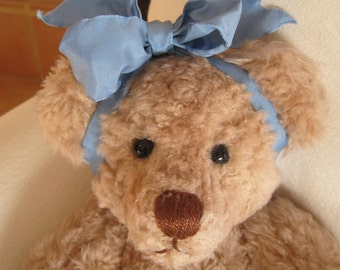 """Vintage Handmade 15""""  Teddy Bear Signed by the Artist 1994 Baby Girl Removable Clothing"""