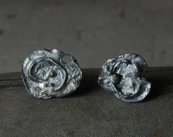 Fused Stud Earrings in silver and 18ct gold 2