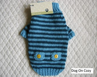 Striped Dog Sweater, Hand Knit Pet Sweater, Size XSMALL, Pet Top, Full Length, Whimsy Turquoise and Teal Patches