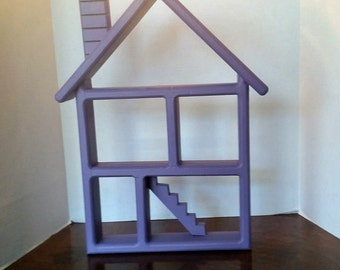 Wooden House Wall Hanging Shelf Re-purposed in Purple