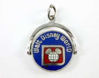 C1107 31 Charm - Sterling Silver - Walt Disney World Charm - Enamel Spinner Charm - Movable Parts - White Enamel Sterling - Vacation Charm