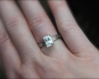 moissanite engagement ring . unique emerald cut solitaire engagement ring . diamond alternative engagement ring . 14k palladium white gold
