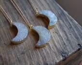 Druzy Agate Geode Crescent Moon Pendant Necklace. White Druzy Stone Moon Necklace