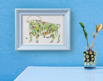 Taurus Bull- Art Print 13x19, 8.5x11 or 5x7