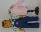 Pink Jacket and Jean Overalls Set, Fits 18 Inch American Girl Dolls