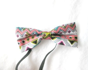 Neon Aztec Elastic Bow Tie