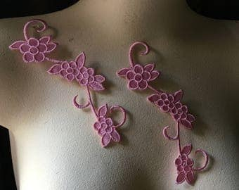2 PINK Appliques for Lyrical Dance, Headbands, Costumes Iron On IRON 19