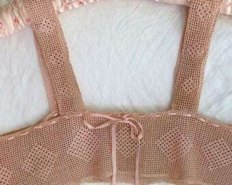 Vintage Crocheted Yoke / Dress Yoke/Lingerie in Peach with Silk Jacquard Ribbon