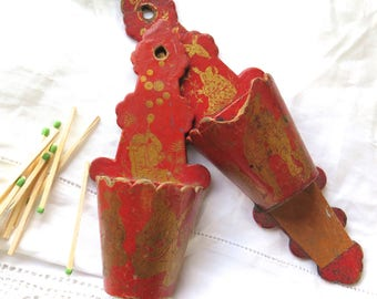 Antique French Paper Mache Match Keeps in Red Orange and Gold Pierrot Asian Theme Set of Two