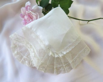 Antique Linen Handkerchief Trimmed in Valencienne Lace in Ivory