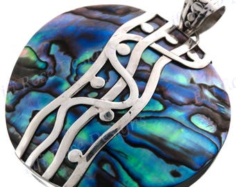 "2 3/8"" Gorgeous Paua Shell 925 Sterling Silver Pendant"